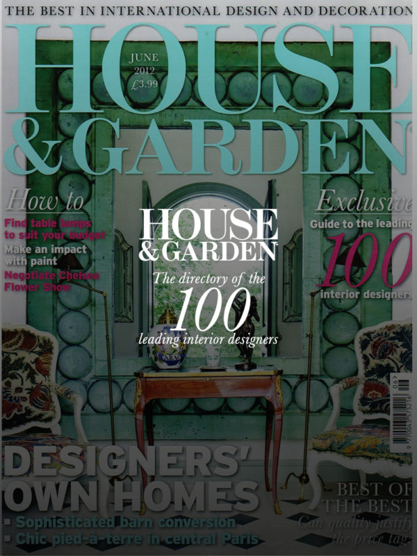 House and Garden magazine cover - June 2012 - directory of top 100 leading interior designers