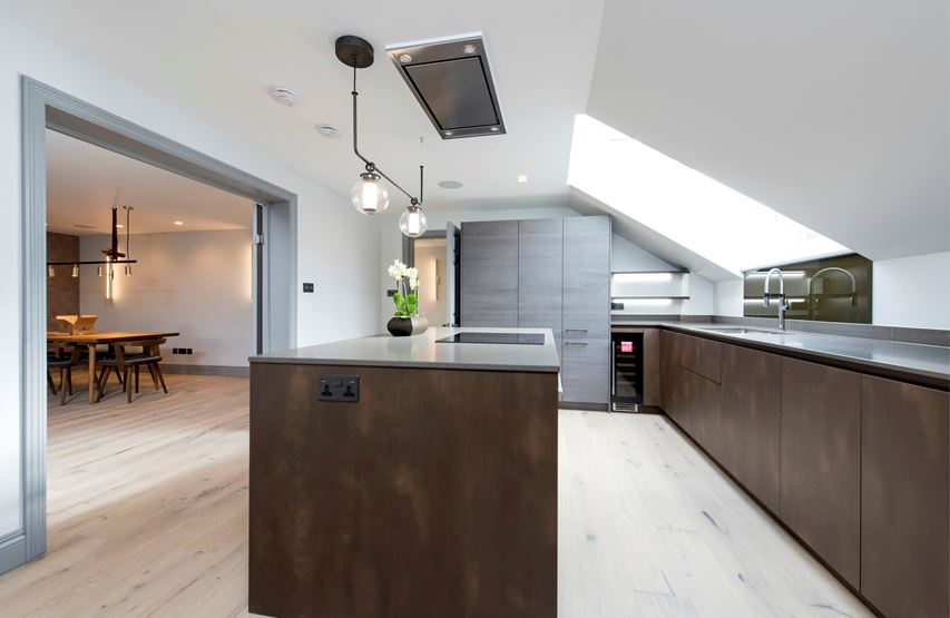 Kitchen with copper cupboards