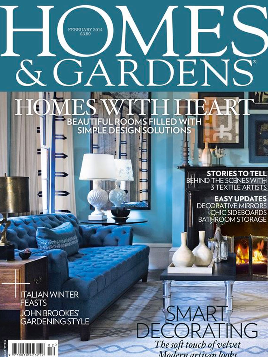 Homes and gardens February 2014 magazine cover with blue capitone sofa