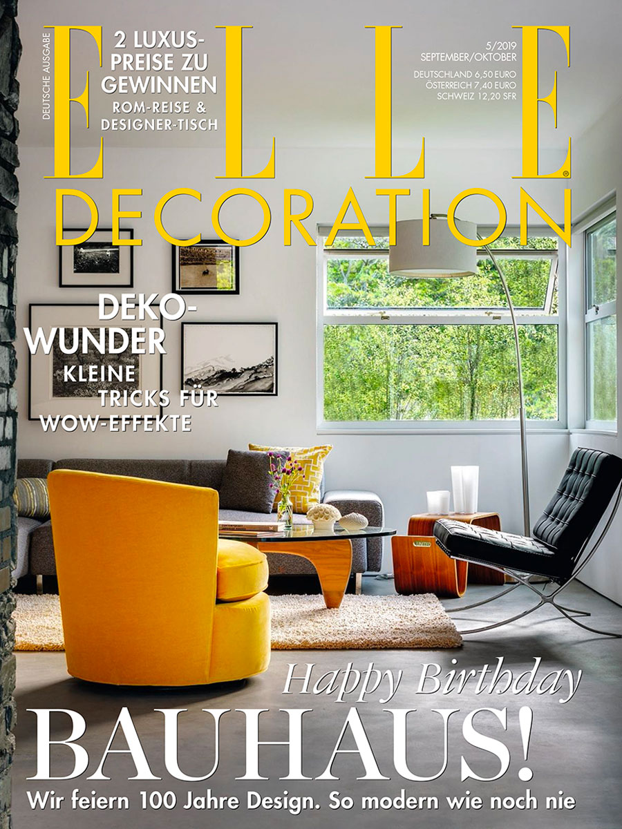 Elle Decoration magazine cover featuring yellow armchair