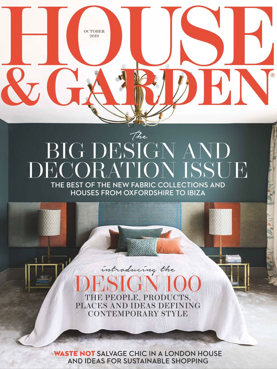 House and Garden magazine cover with dark teal wall and upholstered headboard
