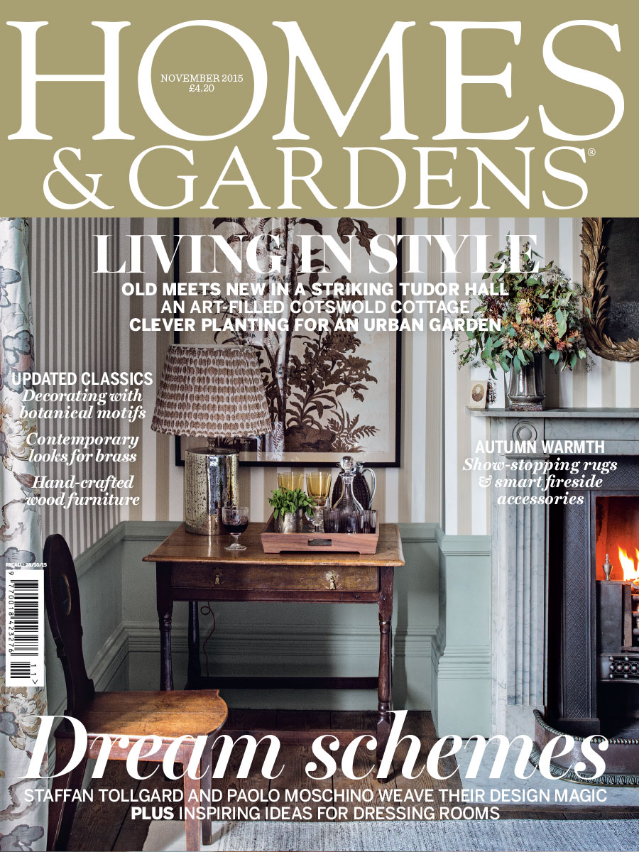 Homes and Gardens magazine cover with striped wallpaper and light green walls