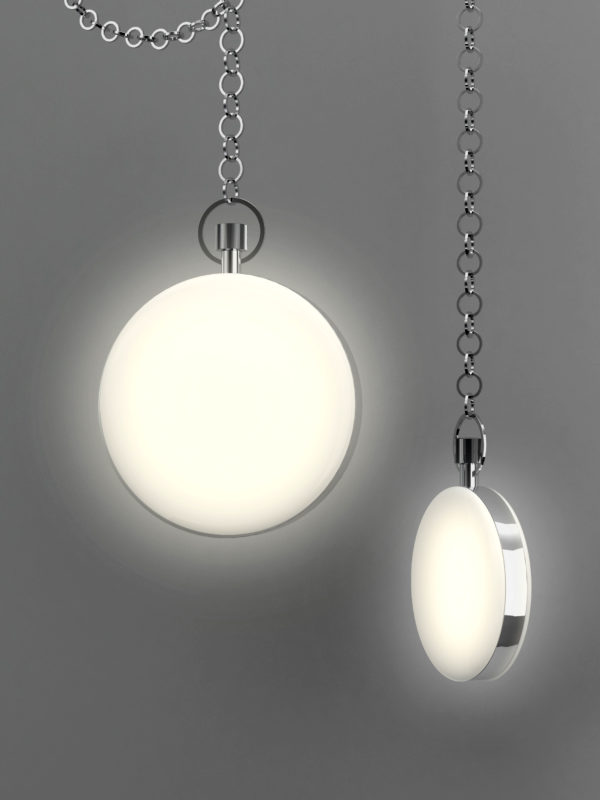 Round small and large pendant lights in shape of pocket watches by Contardi - Timeless so large e small