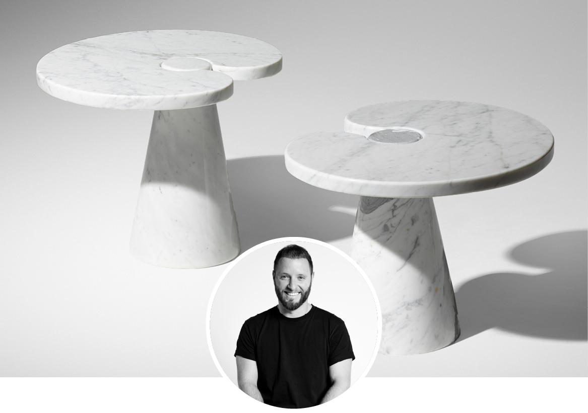 Agape Casa Eros Side table in white carrara marble in white background