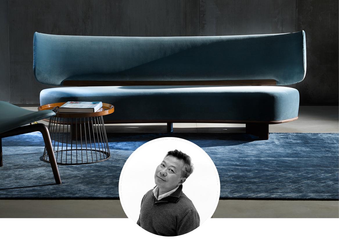 Ceccottu Colezionni Icosofà upholstered in blue velvet in situ image