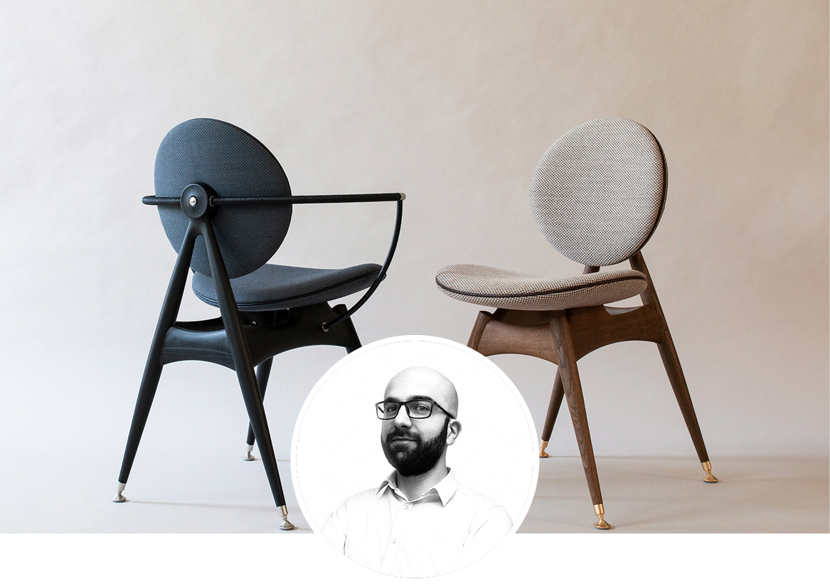 Overgaard and Dyrman Circle dining chairs in situ image with white plaster walls