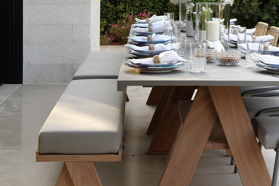 Outdoor Dining table Villa Design Project by Tollgard Design Group