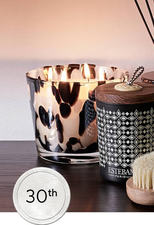 Esteban Paris large candle with animal print glass in situ image