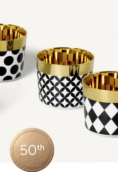 Sip of Gold Gold, black and white glass tumblers with geometric pattern