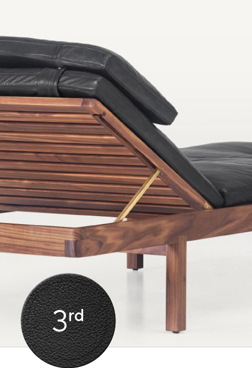 Daybed with solid wood seat paded with black leather