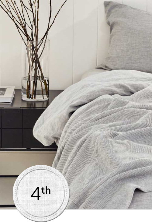 Bed with grey sheets and bedside table with white wall