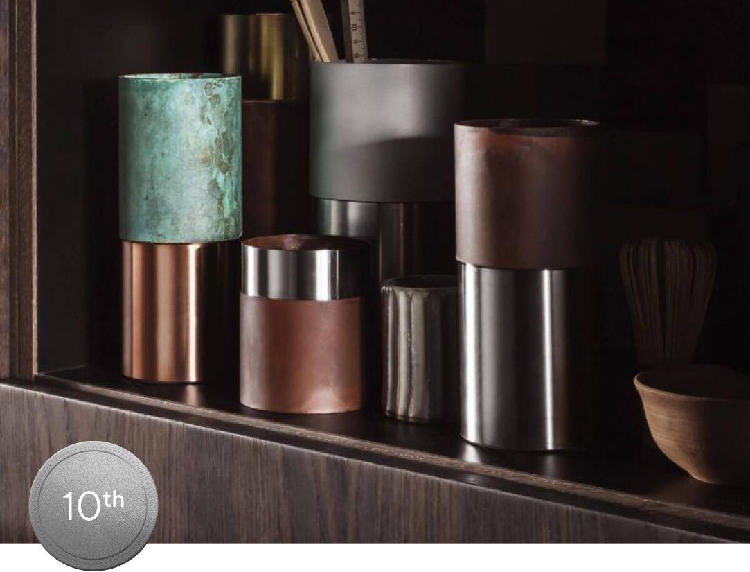 Copper desk accessories on a cabinet