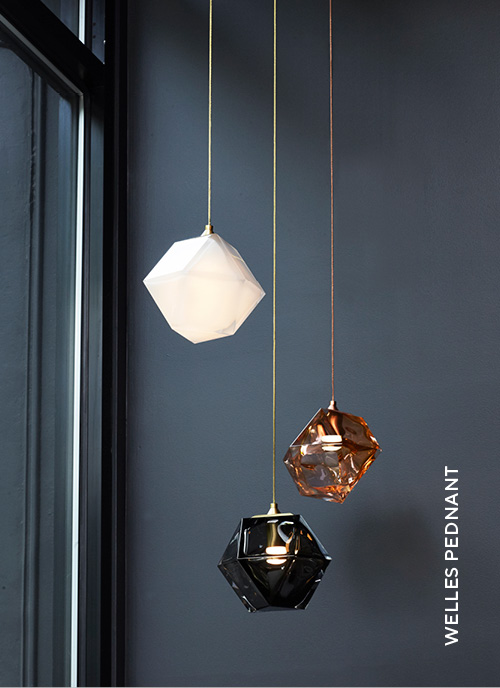 Gabriel Scott Lighting Welles Series Welles Double Blown Glass Pendant in white, Smoked Grey and California Pink Finishing in situ image