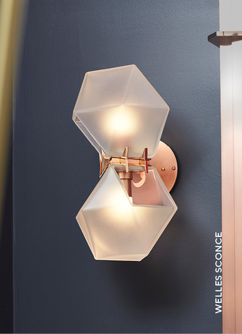 Gabriel Scott Lighting Welles Series with Welles Steel Double Head Sconce in situ image