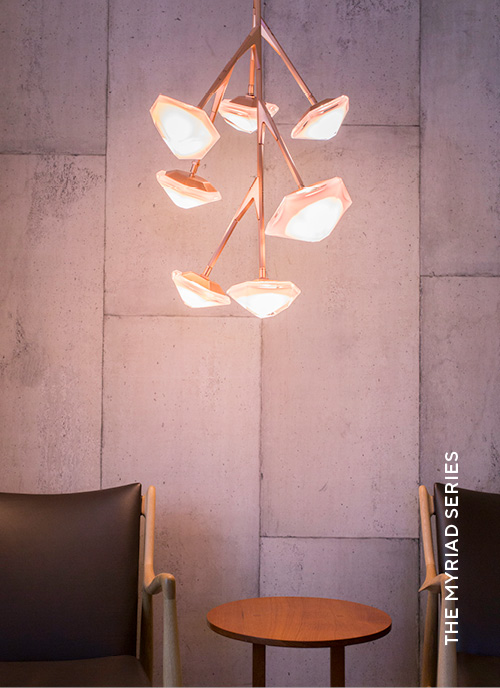 Gabriel Scott Lighting Myriad Series with Myriad Chandelier 7 Vertical in situ image