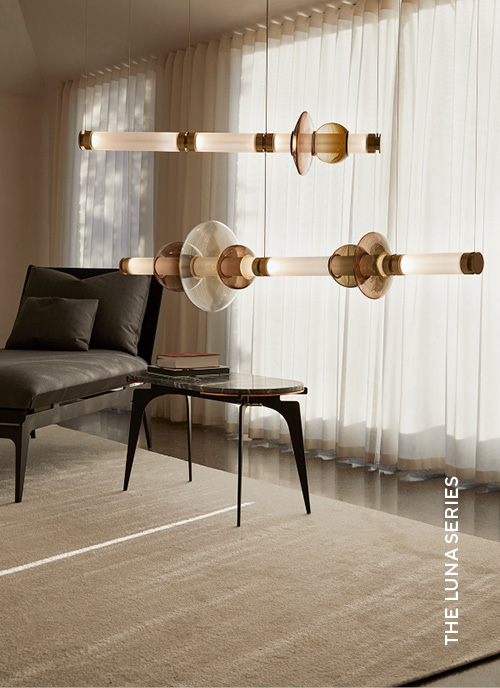 Gabriel Scott Lighting Luna Series with Luna Chandelier in situ image